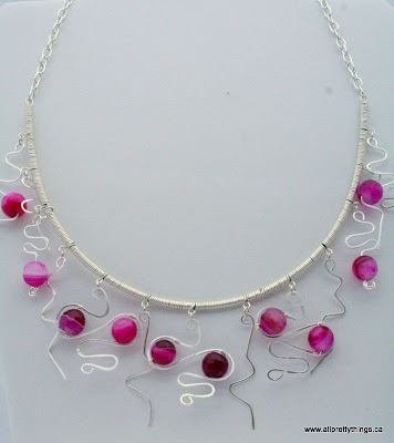 Fuchsia and Sterling Silver necklace (wire wrapping) :: All Pretty Things