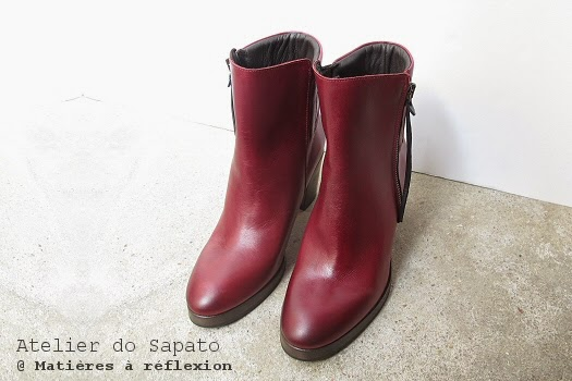 Bottines bordeaux talon bois Atelier do Sapato