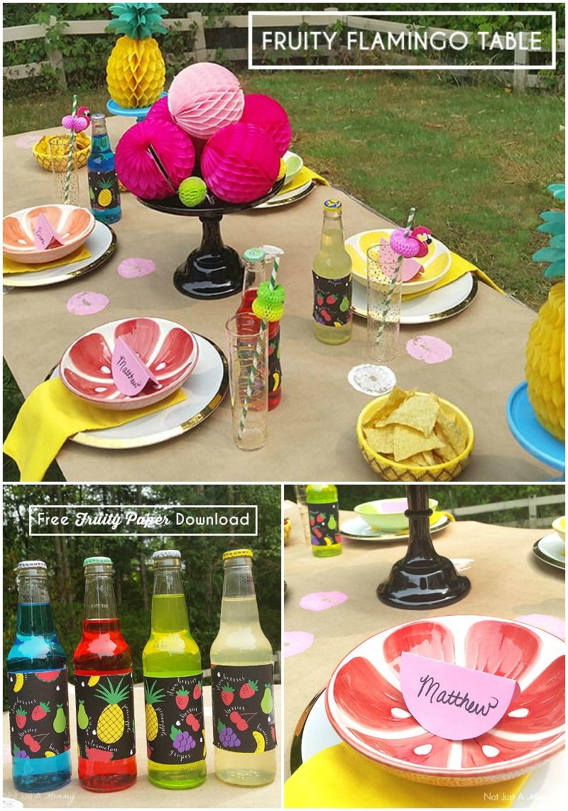 Fruity Flamingo Party Table + Free Printable