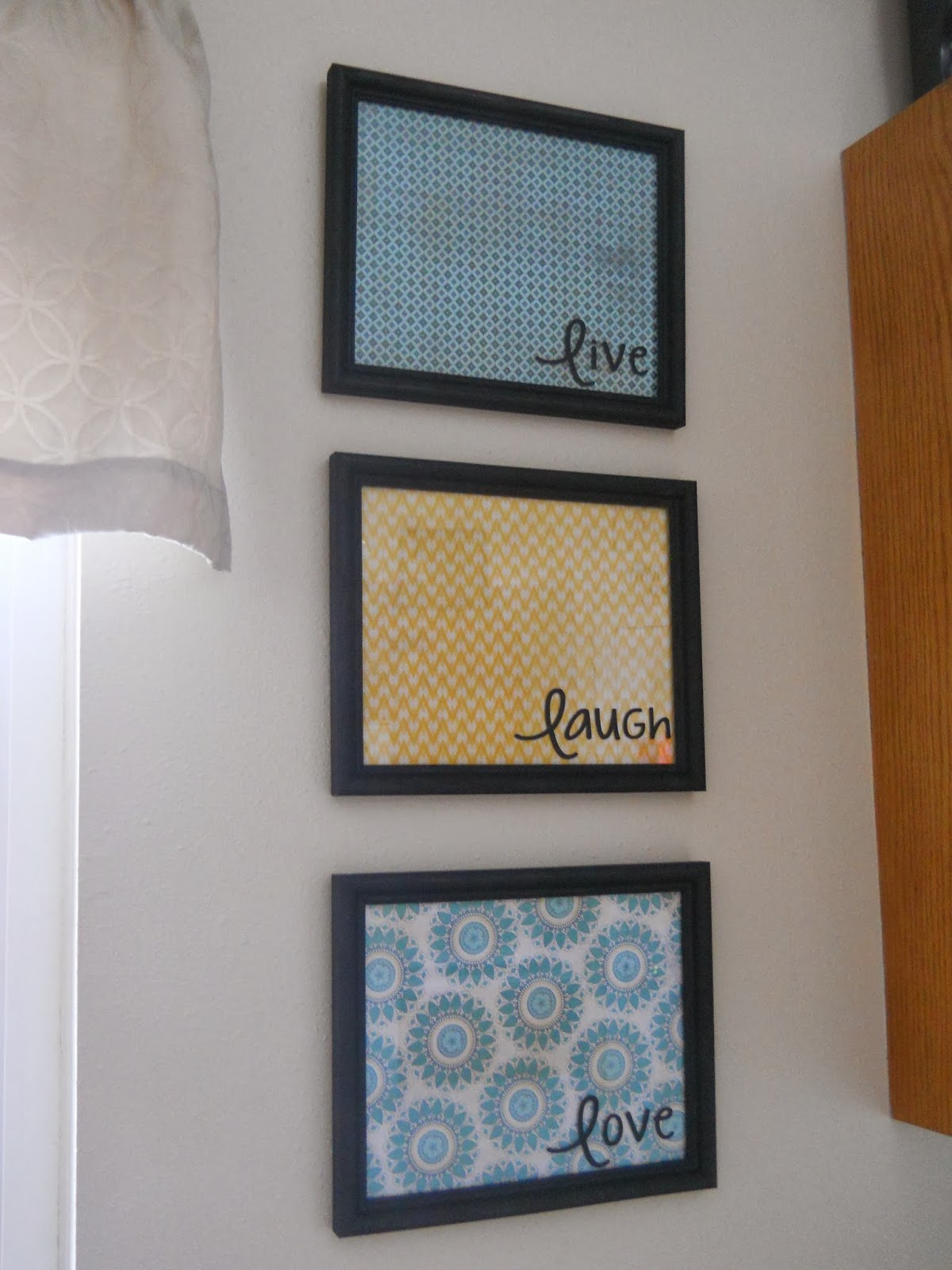 the scrapbook paper adds the pop of color my kitchen needed