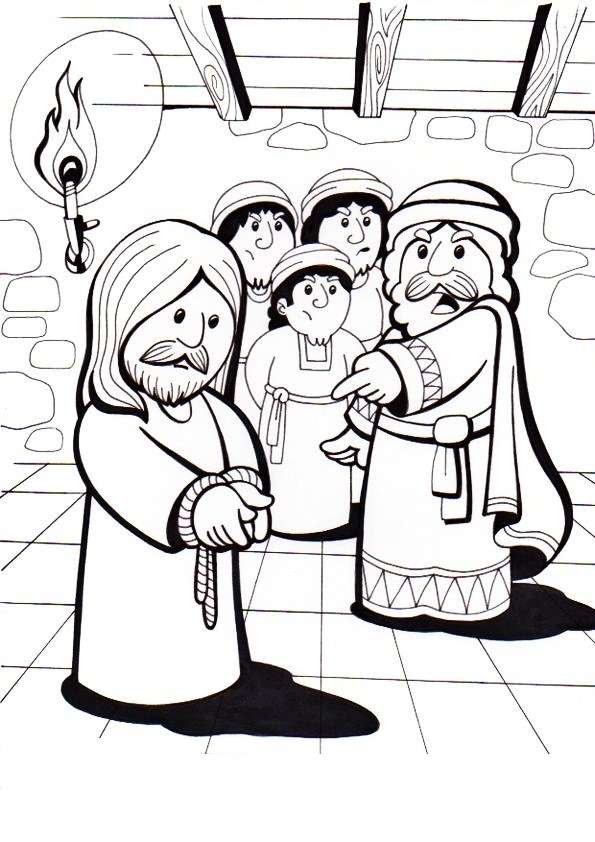 dibujos de semana santa dibujo de jesus arrestado para colorear