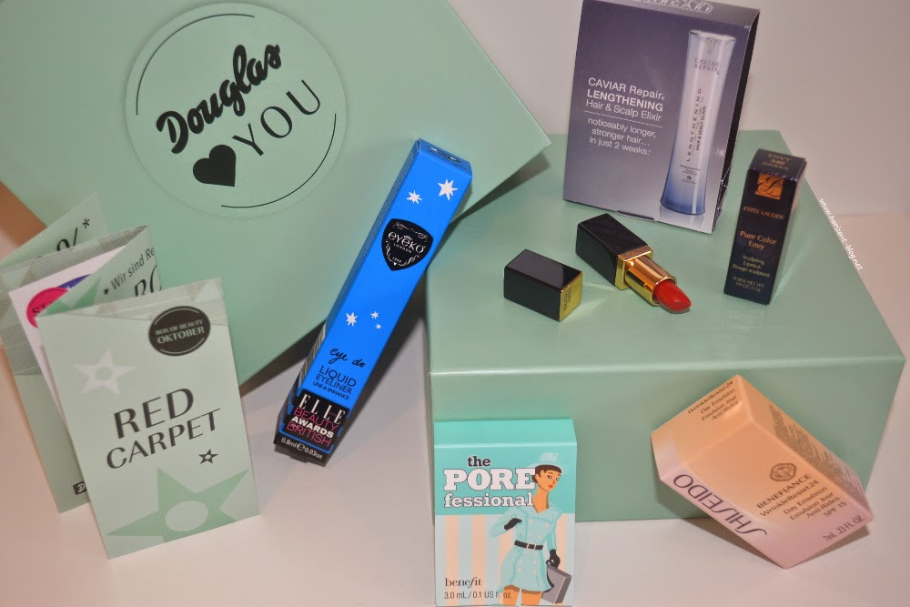 Inhalt meiner Douglas-Box-Of-Beauty für Oktober 2014 mit dem Thema Red Carpet.
