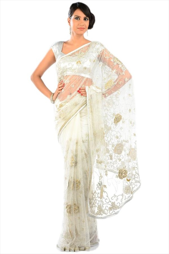 new Pearl White Net Saree