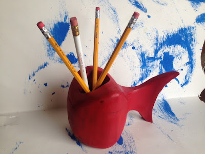 red fish pencil box, fish pencil box, core modern fish pencil box