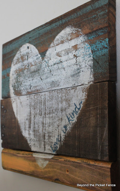 love is kind reclaimed wood heart http://bec4-beyondthepicketfence.blogspot.com/2013/01/love-is-kind.html