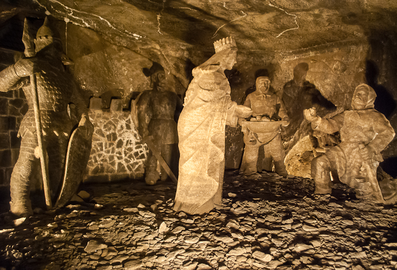 Story of the salt mines in salt carving in the Wieliczka Salt Mine in Poland