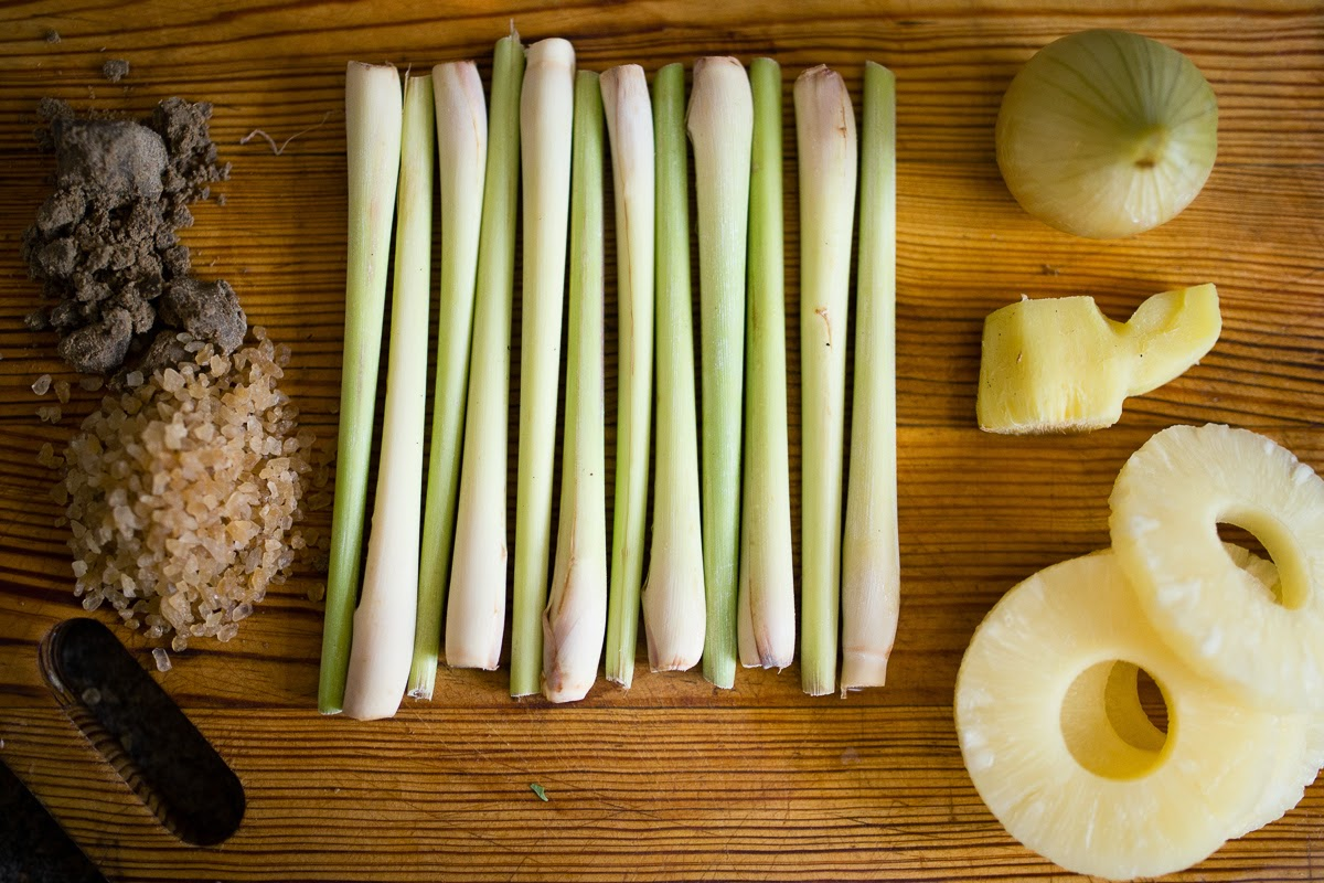 ingredients lemongrass, palm sugar, shrimp paste, onion, ginger, pineapple