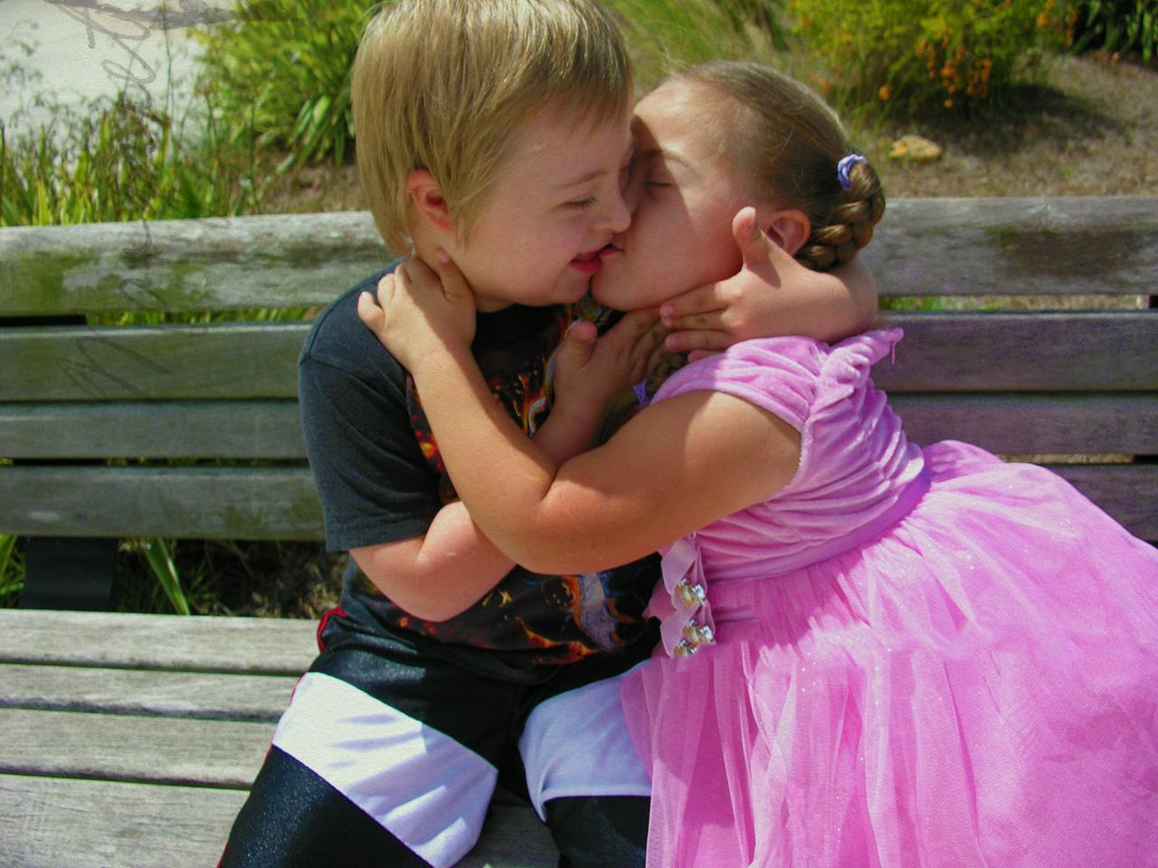 cute little baby couple kissing hd wallpaper cute little