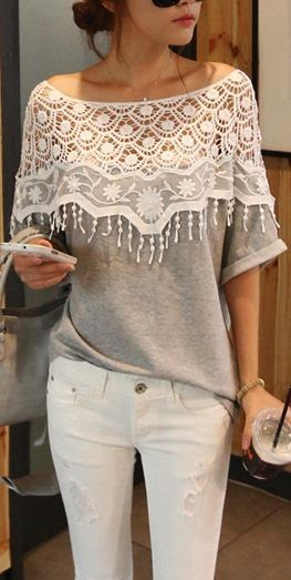 See more Cute Grey Lace Top http://fashionshigh.blogspot.com/