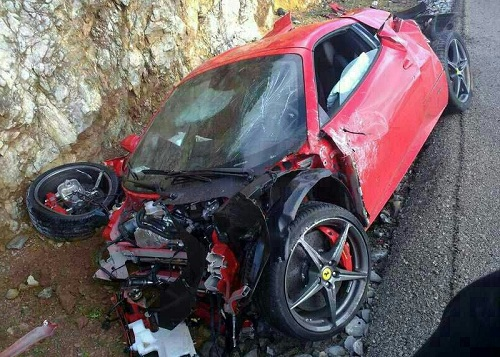 Ferrari 458 Spider crashed in Mallorca