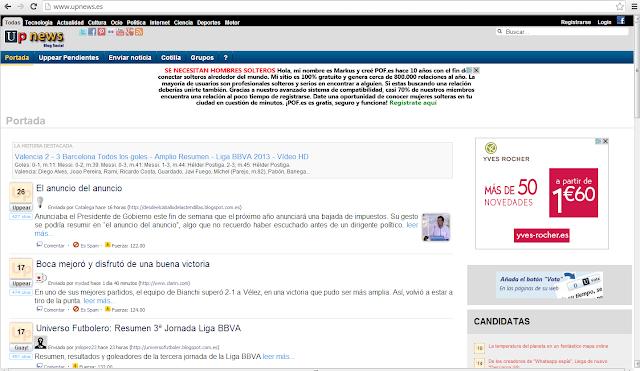 Captura portada Upnews de Universo Futbolero