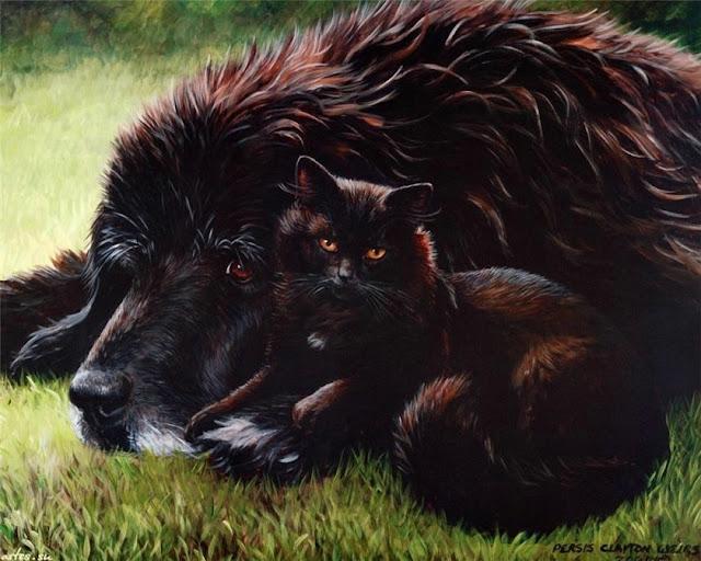 чёрный пёс и кошка