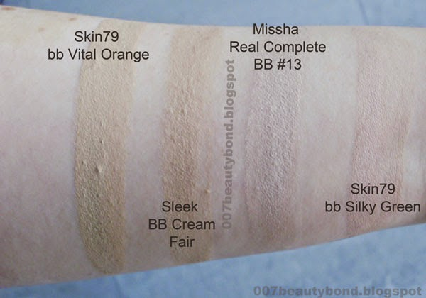 blended swatches bb cream for fair skin Skin79 SILKY GREEN SUPER PLUS BEBLESH BALM fair skin Skin79 SUPER+ BEBLESH BALM TRIPLE FUNCTIONS Vital Orange Sleek Be Beautiful Blemish Balm Fair Missha M Signature Real Complete BB Cream 13 light milk beige