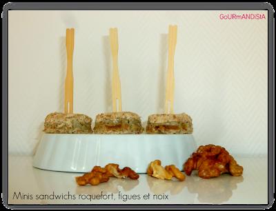 image Minis sandwichs roquefort, figues et noix