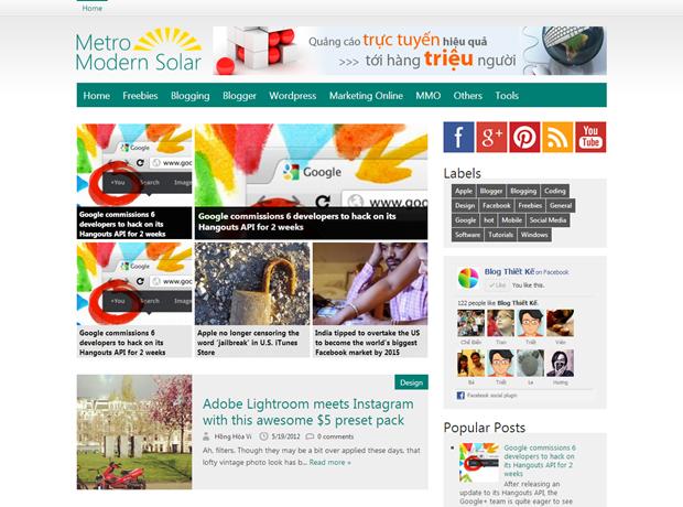 Premium Blogger Template - Metro Modern Solar V.1