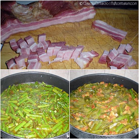 Sedani rigati con asparagi, zafferano e pancetta