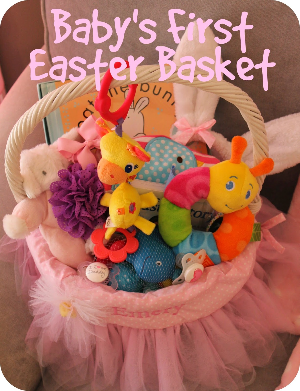 Scoops of poops babys first easter basket ideas this sweet pink basket from jenny at richly blessed is honestly a little too frilly and full for my taste personally but i love some of the items shes negle Image collections