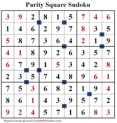 Parity Square Sudoku (Fun With Sudoku #159) Solution