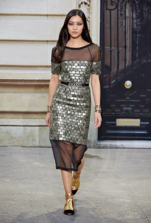 chanel silver bricks dress