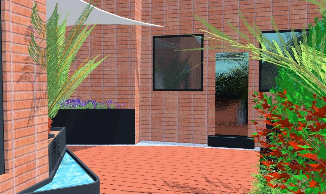 proyecto de paisajismo y jardinera con jardineras de acero corten