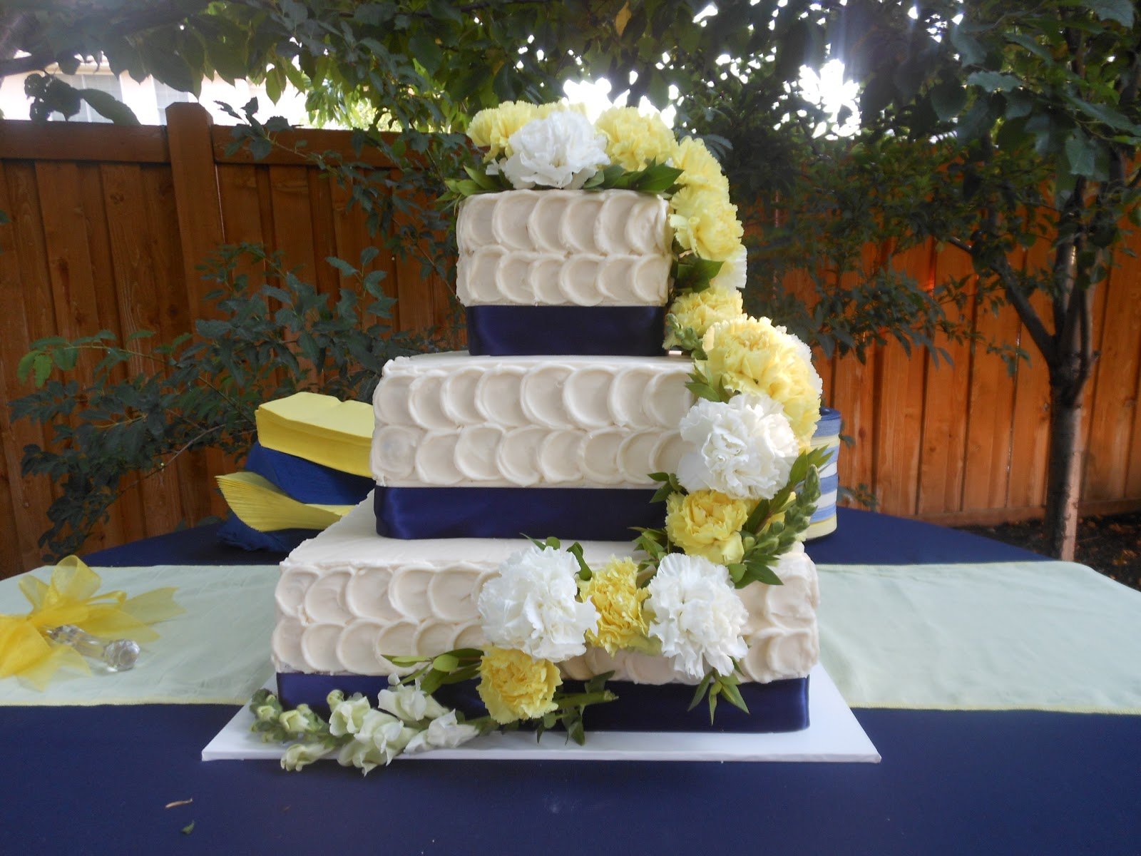 It s a piece of cake Yellow and Navy Blue Wedding Cake