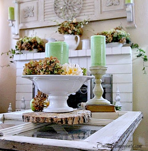 Decorating for Fall on Mantel and Coffee Table at One More Time Events.com