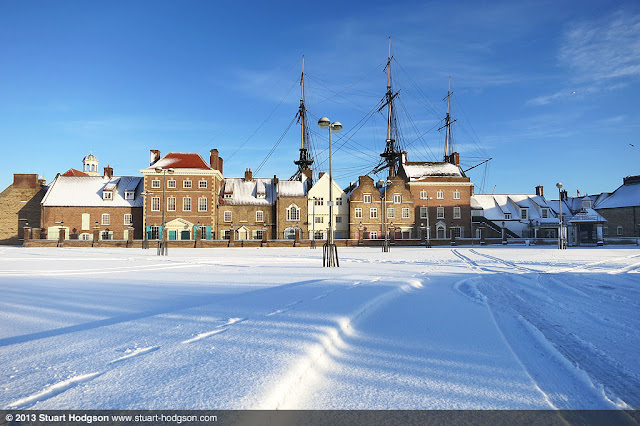 Hartlepool historic quay on the marina with a snow covered car park
