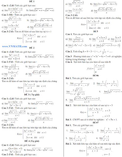 đề kiểm tra 1 tiết chương giới hạn, hàm số liên tục
