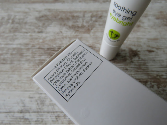 ZIAJA soothing eye gel eyebright - ingredients