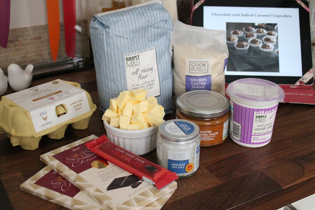 marks & spencer Ingredients for chocolate & salted caramel cupcakes with recipe in background