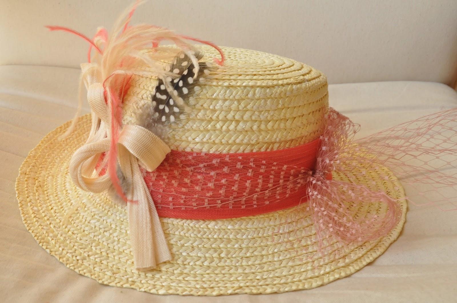 coral, canotier barato, canotier económico, tul, sinama de seda, sombreros baratos, sombreros económicos