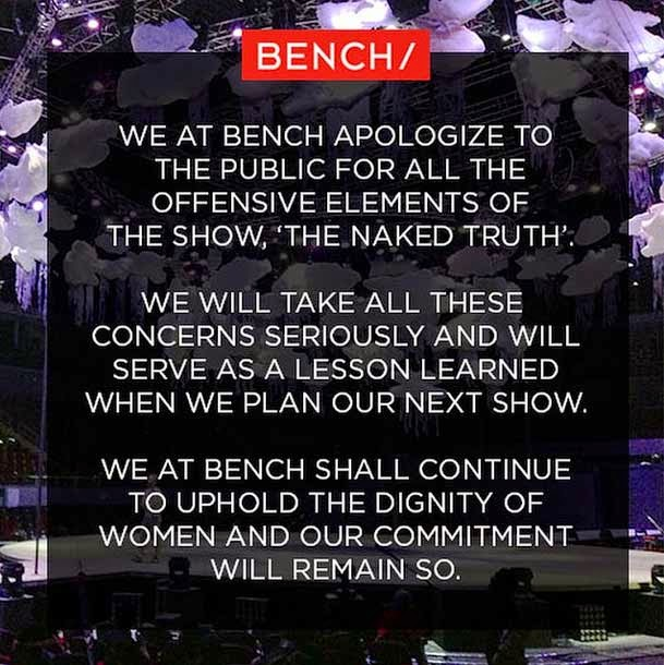 Bench apologizes