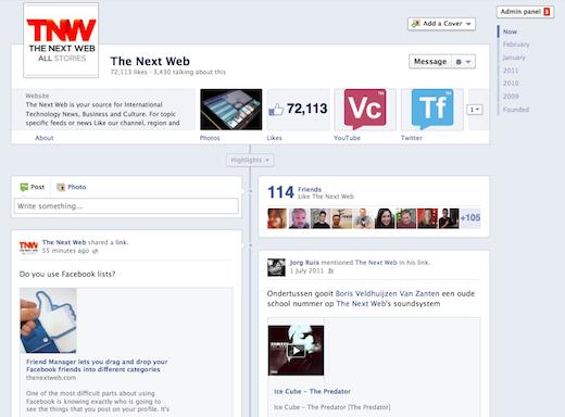 Screenshot timeline kronologi halaman
