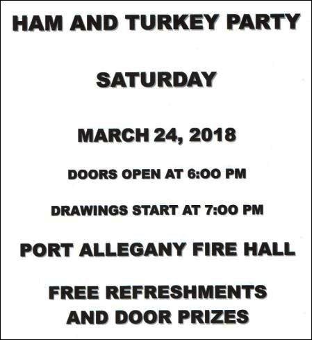 3-24 Ham & Turkey Party, Port Allegany VFD