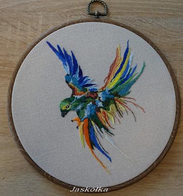 Papuga w locie