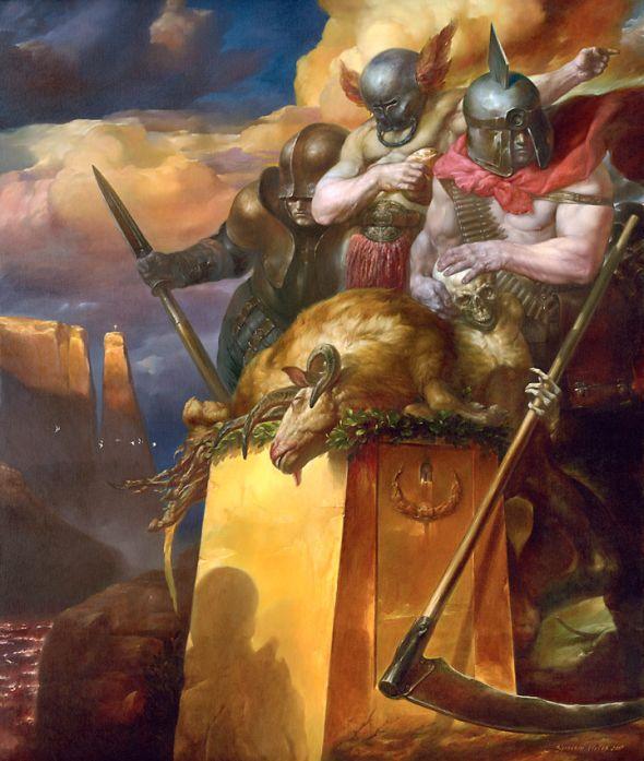 Viktor Safonkin pinturas surreais sombrias medievais mitológicas religião subconsciente Soldados do apocalipse