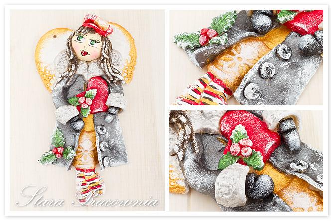 Aniołek z masy solnej, anioł z masy solnej, masa solna, figurka z masy solnej, salt dough, zimowy aniołek