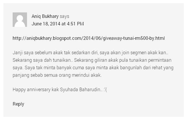 Takziah kepada ahli keluarga Syuhada Baharudin