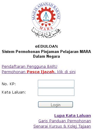 Borang Permohonan Pinjaman Pelajaran MARA 2013