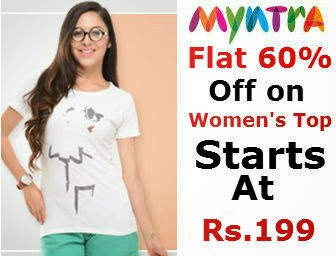 Myntra: Buy Women's Top : Flat 60% Off and Extra 30% Off starts at Rs.199