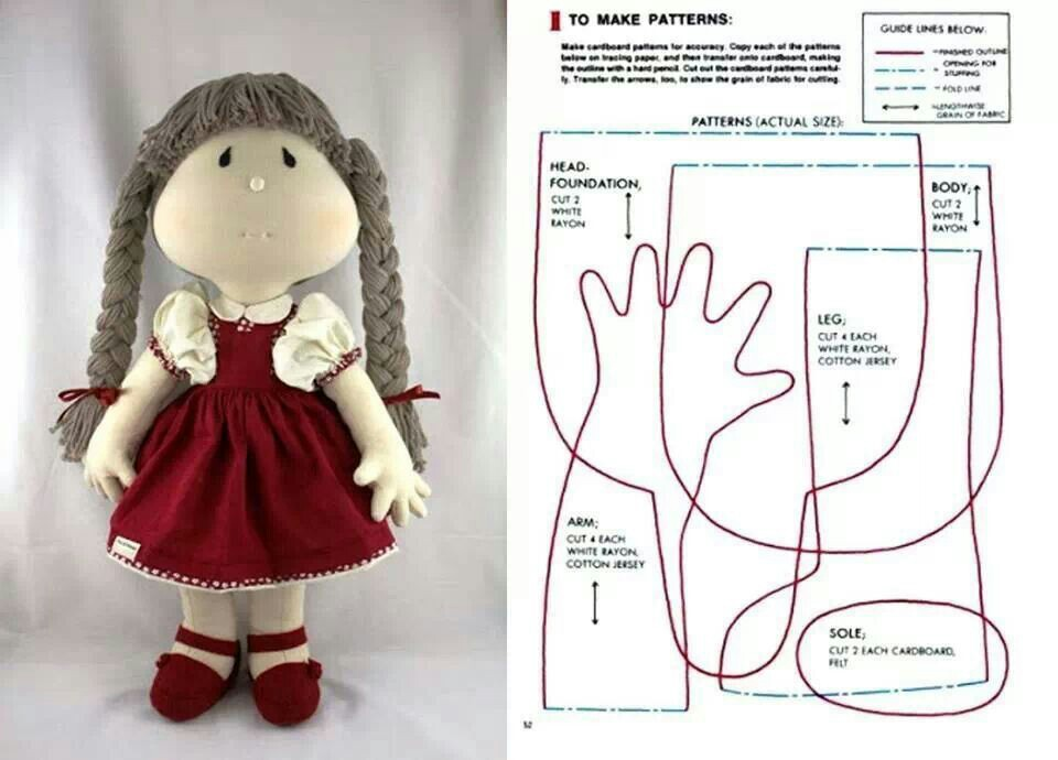 Кукла тканевая выкройка