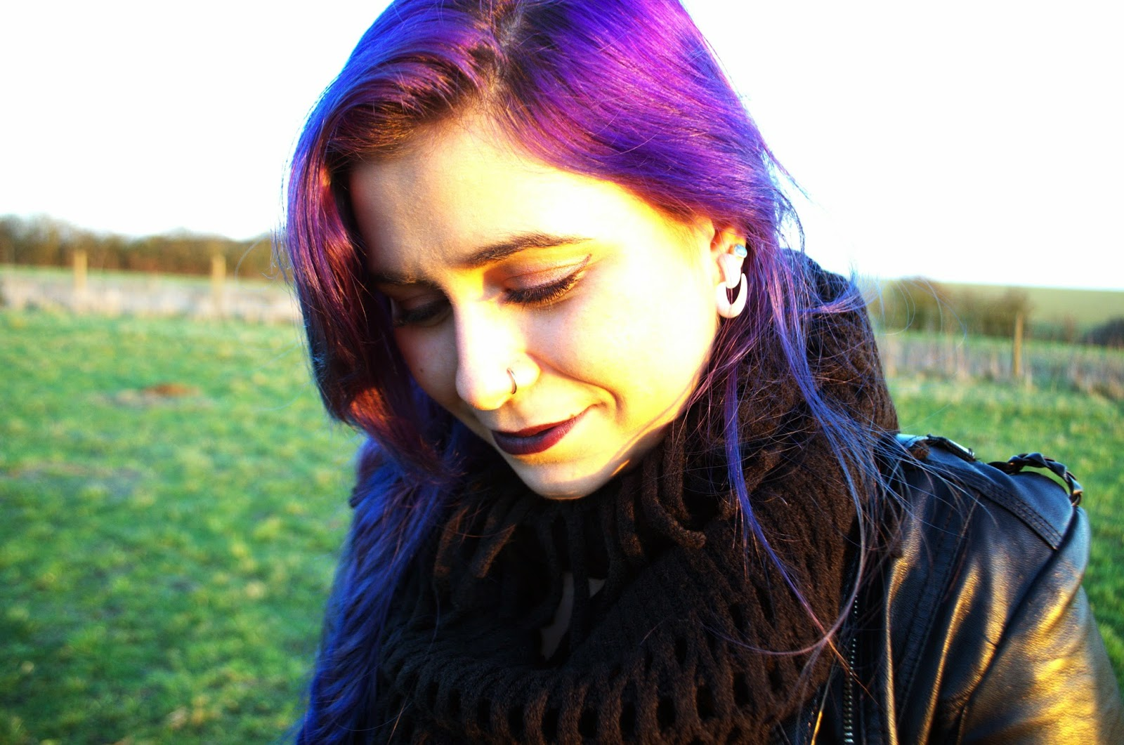 Grunge fashion and purple hair.