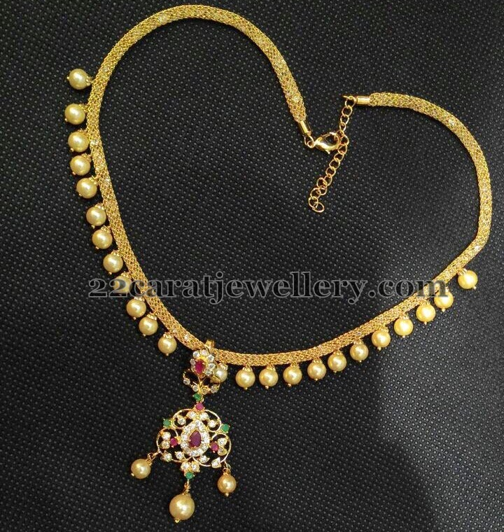 1 gram gold simple pearls choker jewellery designs