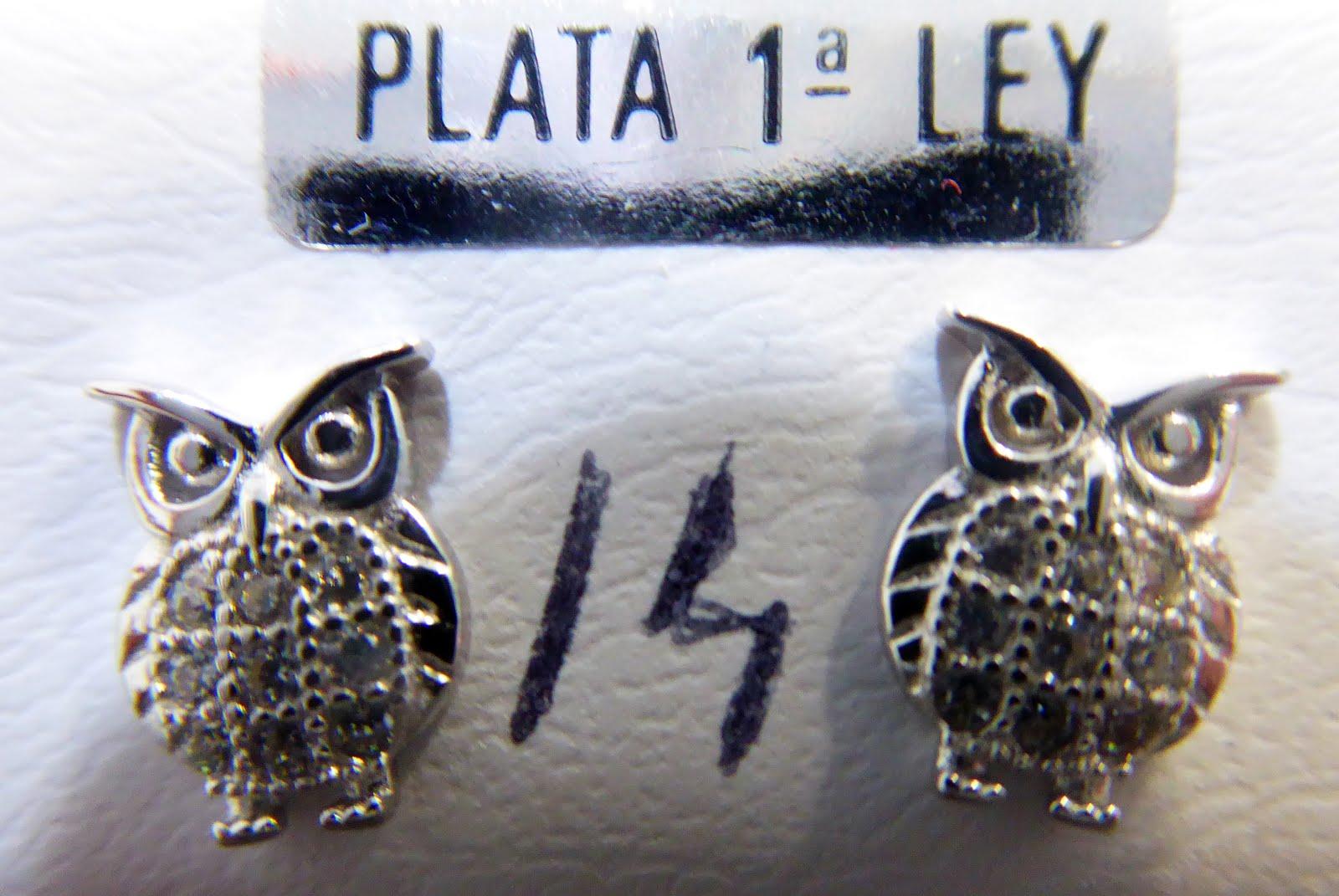 Pendientes de plata con forma de buho