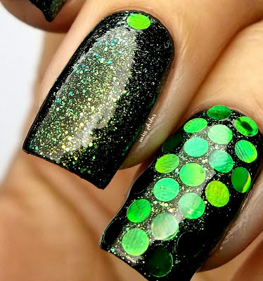 Nyx Emerald Forest over black + round glitters