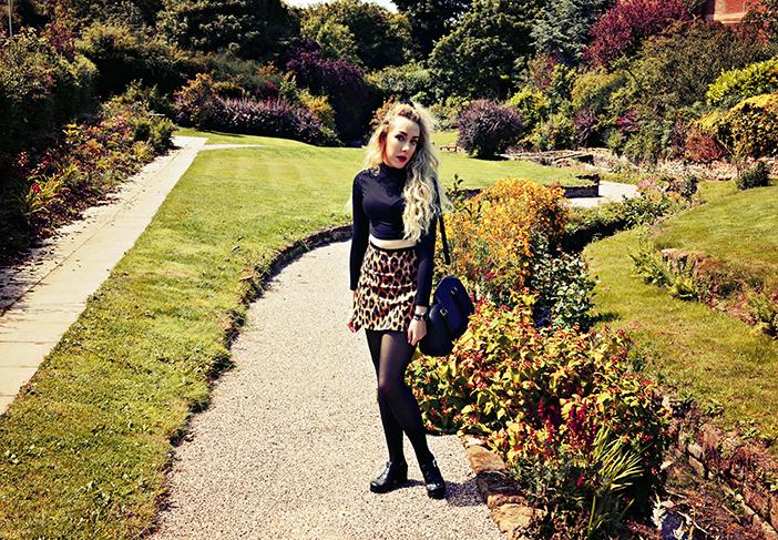 motel leopard skirt, american apparel crop, velvet scrunchie