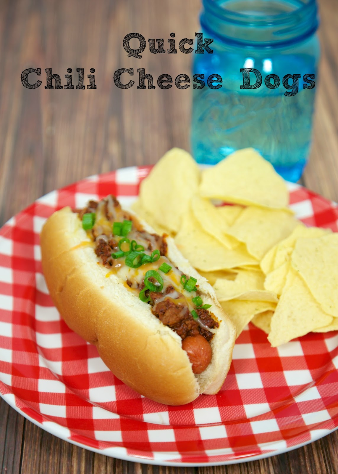 Quick Chili Cheese Dogs Recipe - homemade hot dog chili - ground beef, onions, garlic, tomato sauce, chili powder - the chili is great by itself, but puts a hot dog over the top! Top hot dogs with cheese and green onions. Chili can be made ahead of time and reheated later.