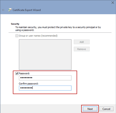 set password for certificate file for file encryption