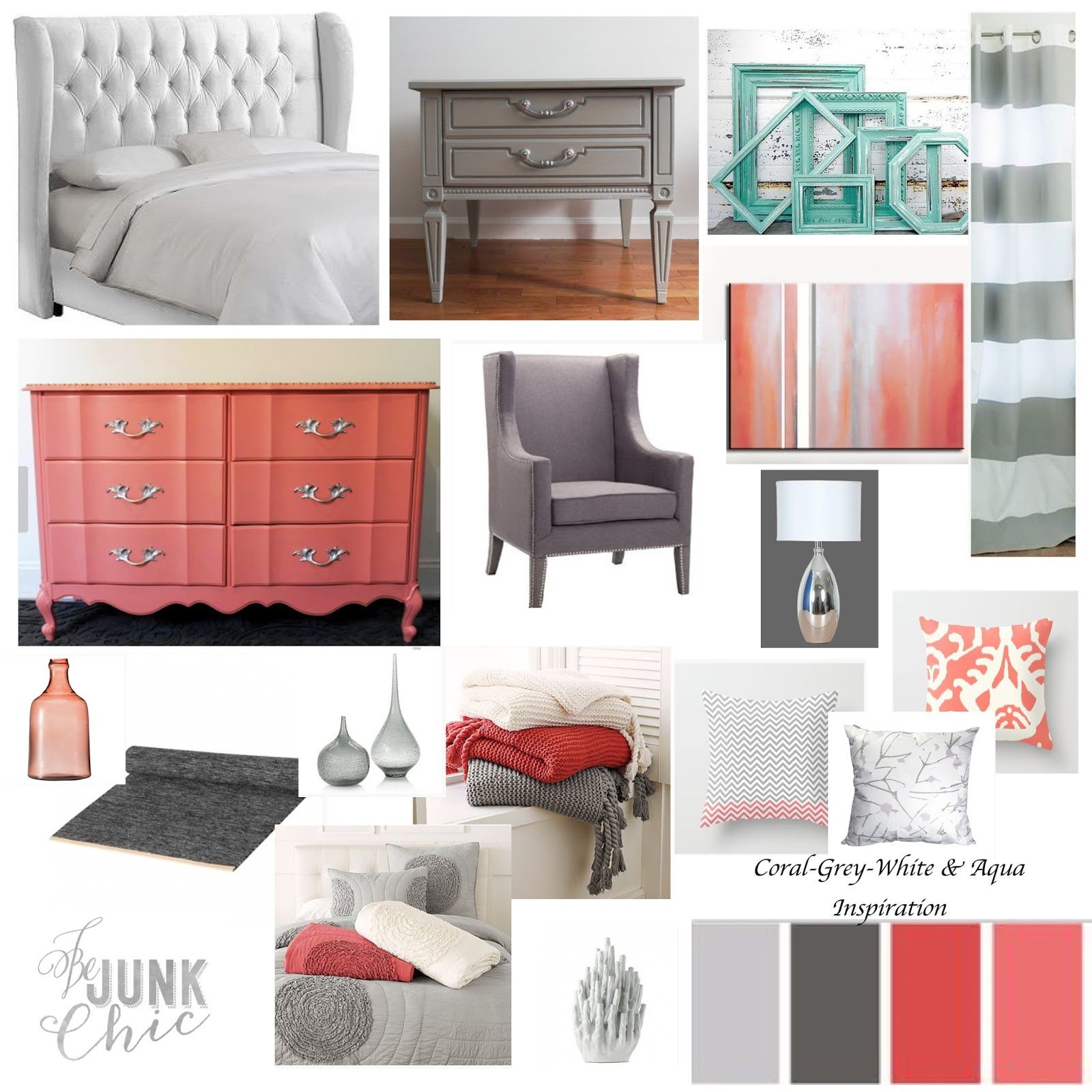 be junk chic Coral & Grey Bedroom Inspiration