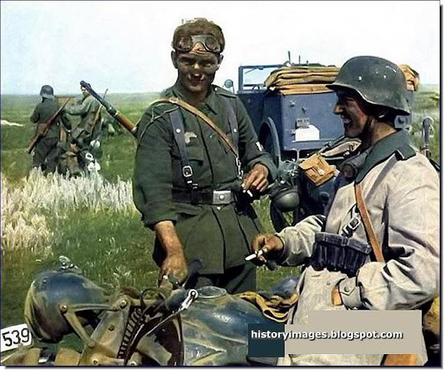 cigarette break  German soldiers